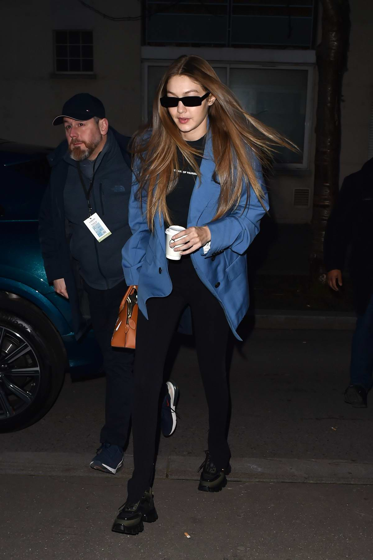 Gigi Hadid looks great in a blue blazer while out during Fashion Week 2020 in Paris, France