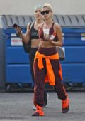 Hailey Bieber shows off her abs as she hits up the dance studio in West Hollywood, California