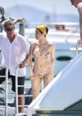 Halsey wears a floral print bikini while enjoying the sunny Gold Coast on Jet ski in Australia