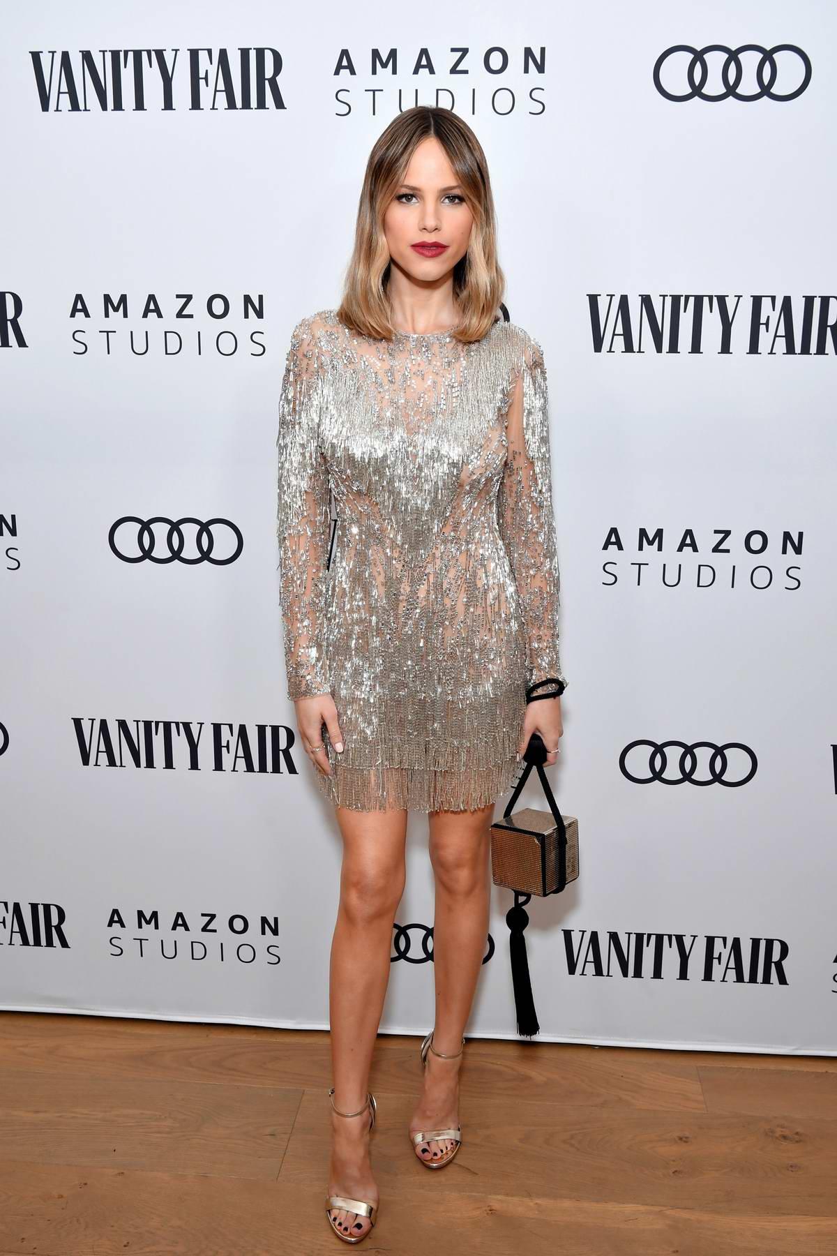 Halston Sage attends The Vanity Fair x Amazon Studios 2020 Awards Season Celebration in West Hollywood, California