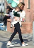 Hilary Duff looking sleepy as she steps out to grab coffee in Los Angeles