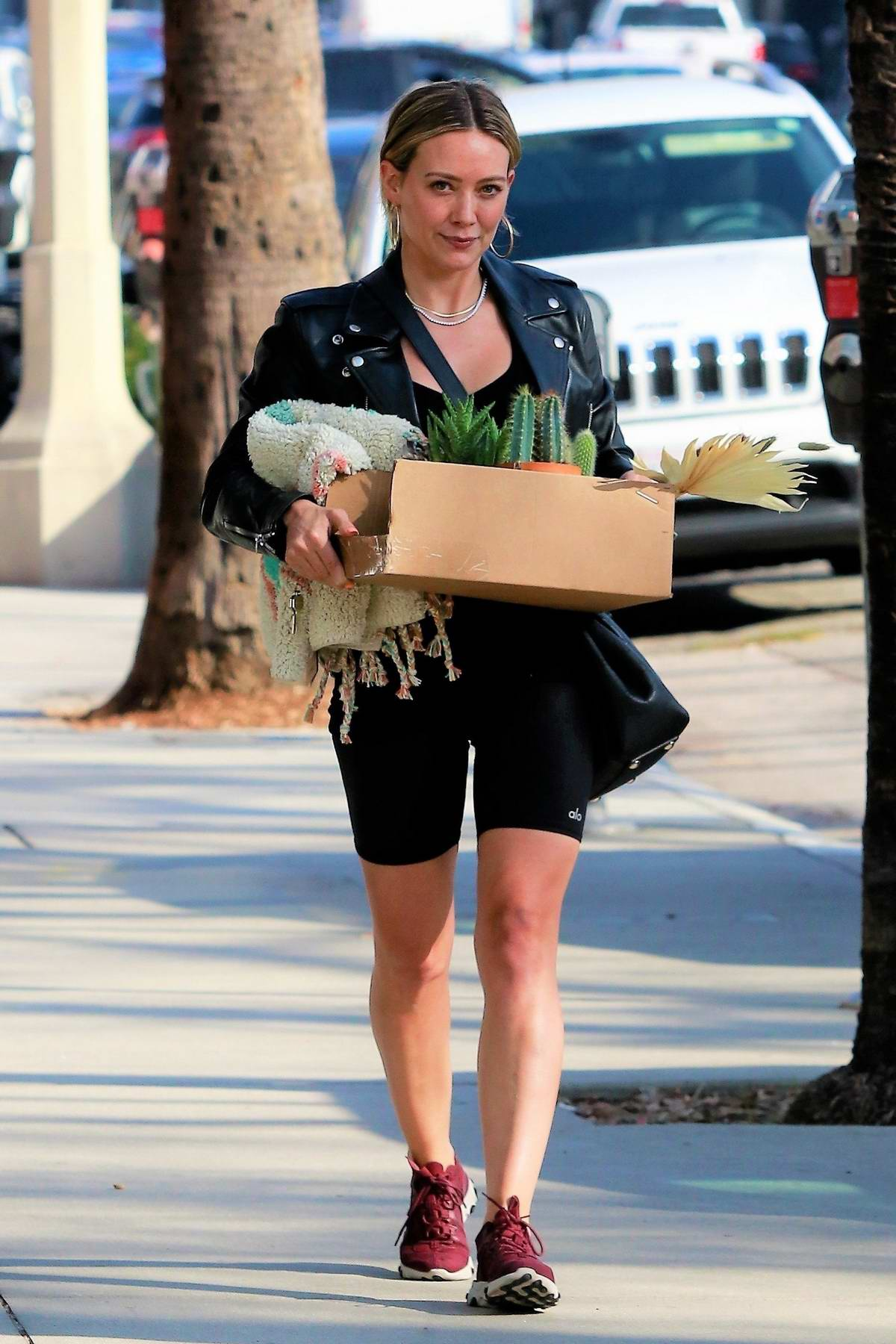 Hilary Duff shops for some flowers and succulents in Studio City, California
