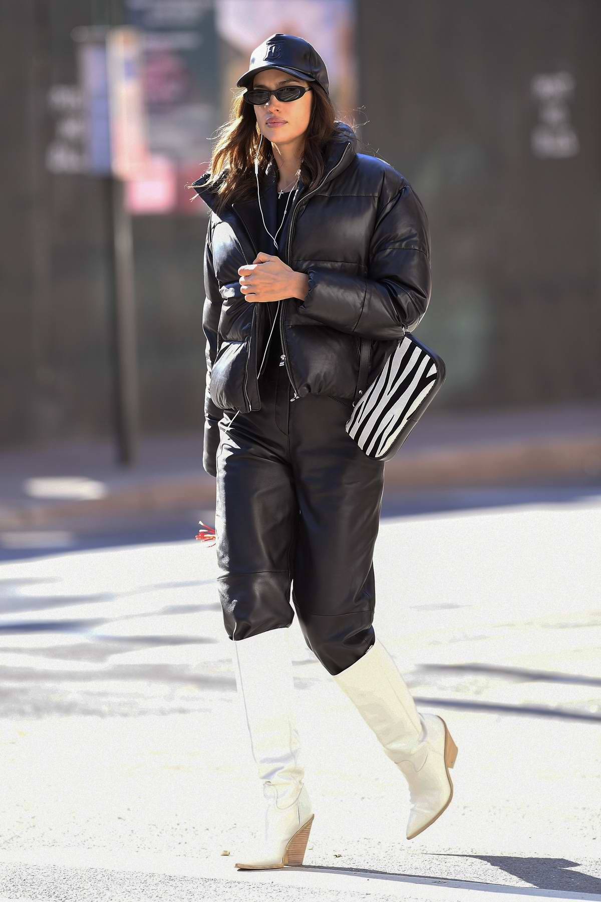 Irina Shayk bundles up on a cold day while heading home after doing her nails in New York City
