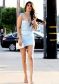 Jasmin Walia looks stunning in a baby blue mini dress while out for lunch at Fig & Olive in West Hollywood, California
