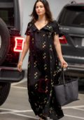 Jenna Dewan seen wearing a black maxi dress while out running errands in Los Angeles