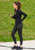 Jessica Alba looks fit in camo leggings while on the set of LA's Finest in Los Angeles
