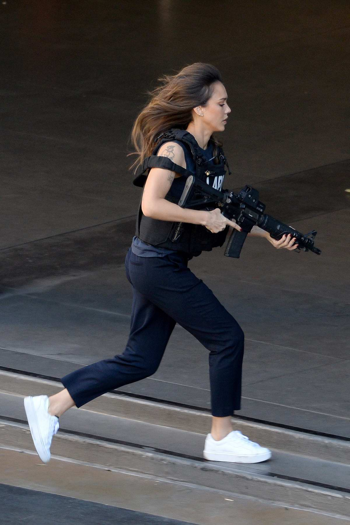 Jessica Alba spotted while filming some action scenes on the set of 'LA's Finest' in Los Angeles