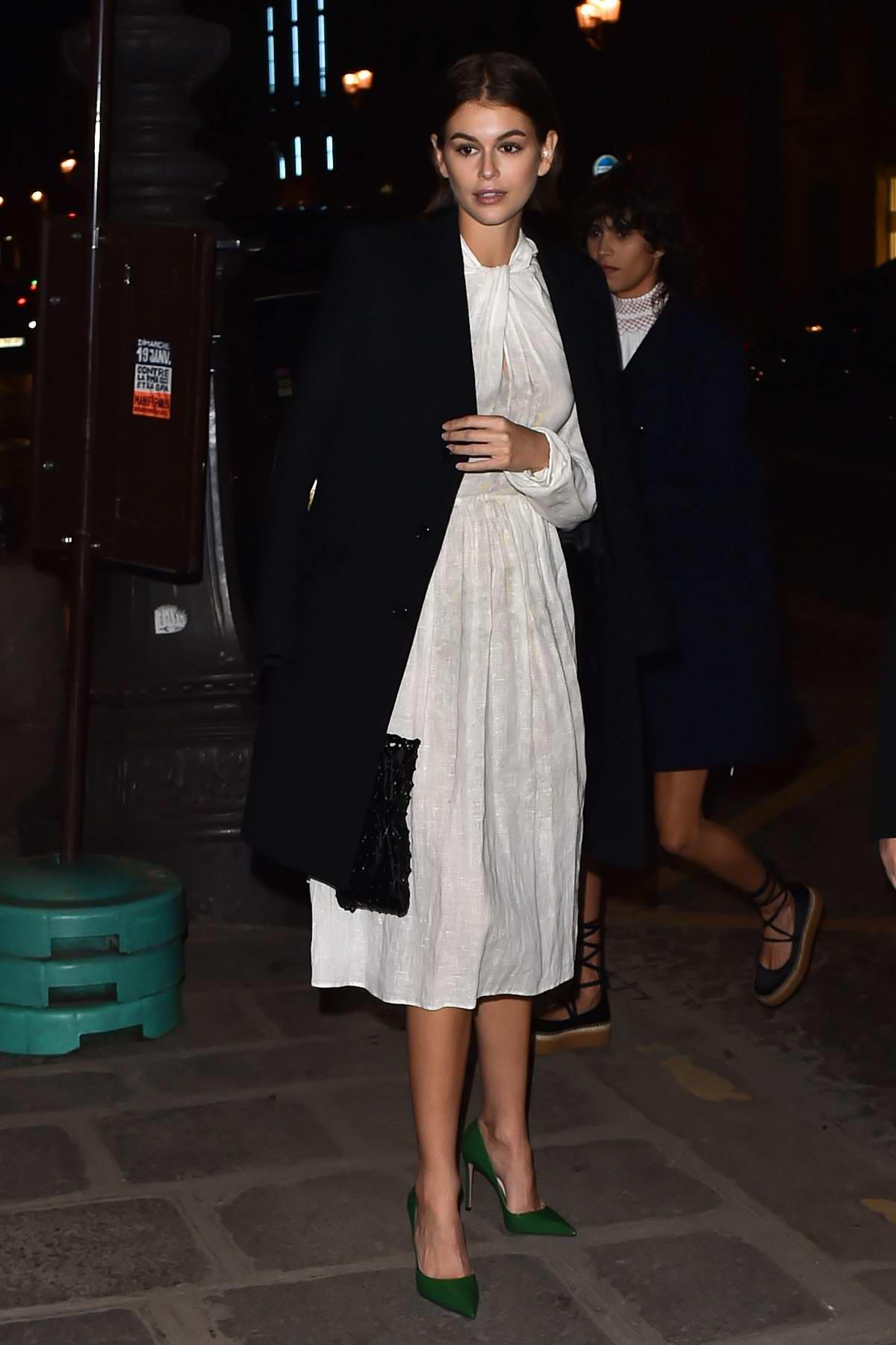 Kaia Gerber arrives at the Prada dinner party in Paris, France