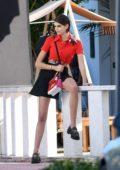 Kaia Gerber seen during a Louis Vuitton photoshoot on the beach in Miami, Florida