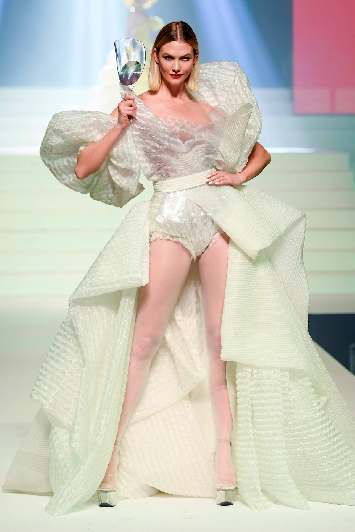 Karlie Kloss walks the runway during the Jean-Paul Gaultier Haute Couture Spring/Summer 2020 show in Paris, France