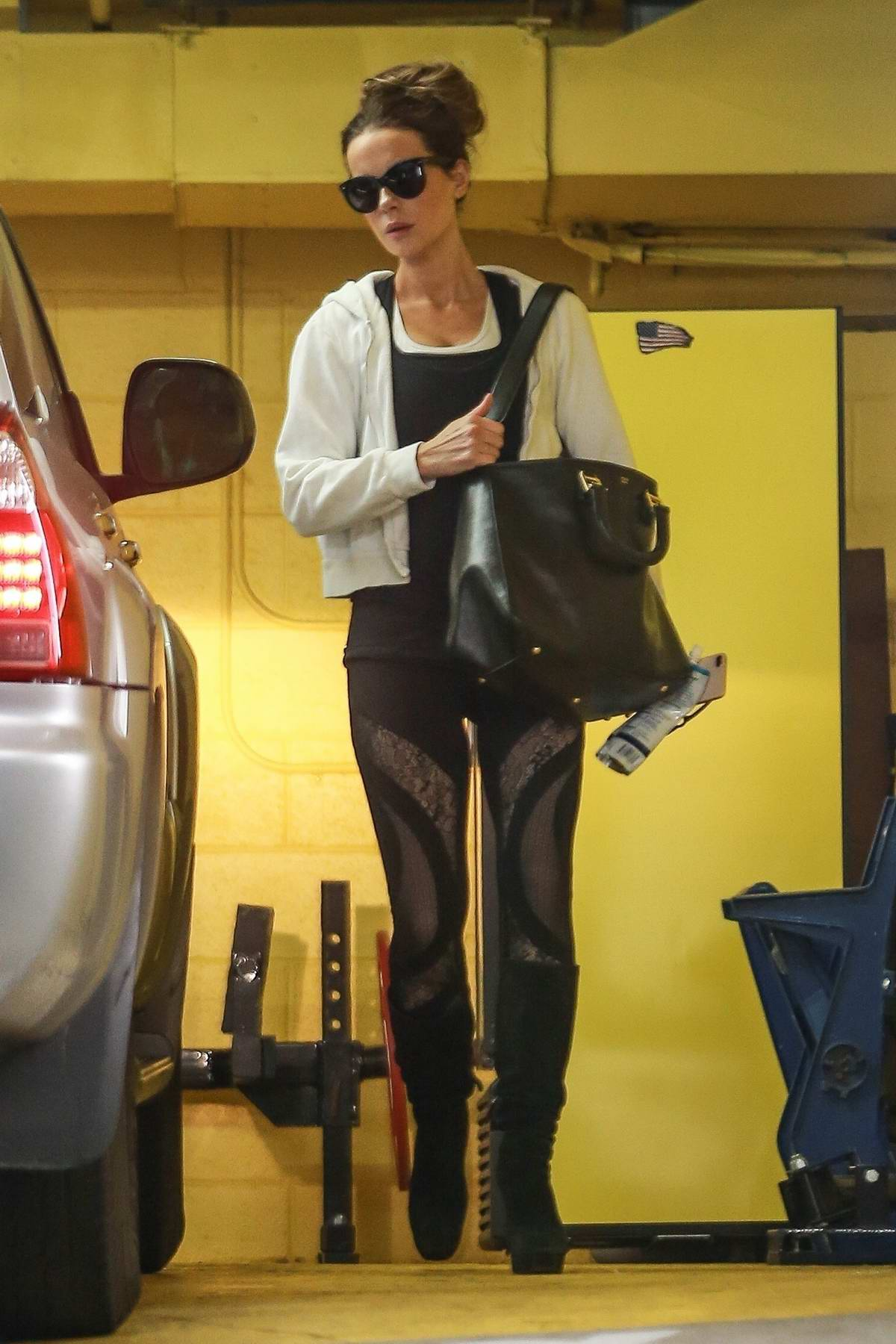 Kate Beckinsale seen leaving the gym after an afternoon workout session in Beverly Hills, California