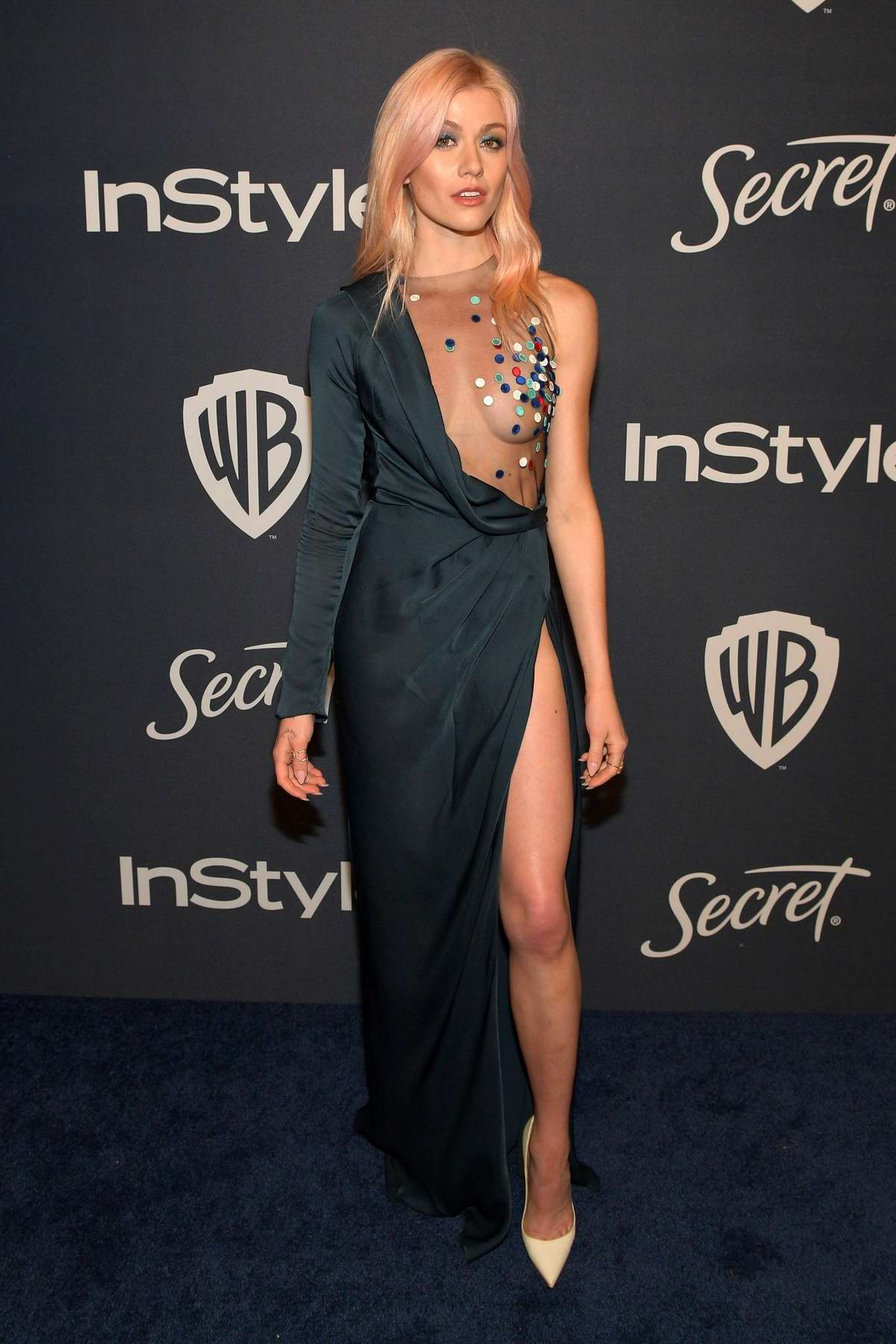 Katherine McNamara attends the 21st annual Warner Bros and InStyle Golden Globe After-Party in Beverly Hills, California