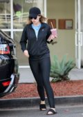 Katherine Schwarzenegger grabs a smoothie after her pilates class in Brentwood, California