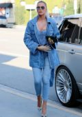 Khloe Kardashian sports all denim during a shopping trip at Sap and Honey in Sherman Oaks, California