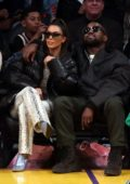 Kim Kardashian and Kanye West attend Los Angeles Lakers vs Cleveland Cavaliers game at the Staples Center in Los Angeles