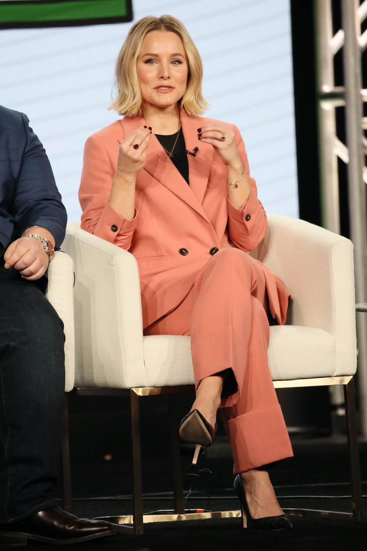 Kristen Bell attends Apple TV+ Winter TCA 2020 panel for 'Central Park' at The Langham in Pasadena, California