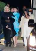 Kylie Jenner, Kim Kardashian, and Khloe Kardashian seen leaving after a family dinner at Nobu in Malibu, California