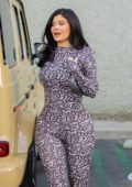 Kylie Jenner seen wearing a patterned jumpsuit as she leaves Polacheck's jewelers in Calabasas, California