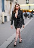 Larsen Thompson looks gorgeous as she steps out during the Fashion Week in Paris, France