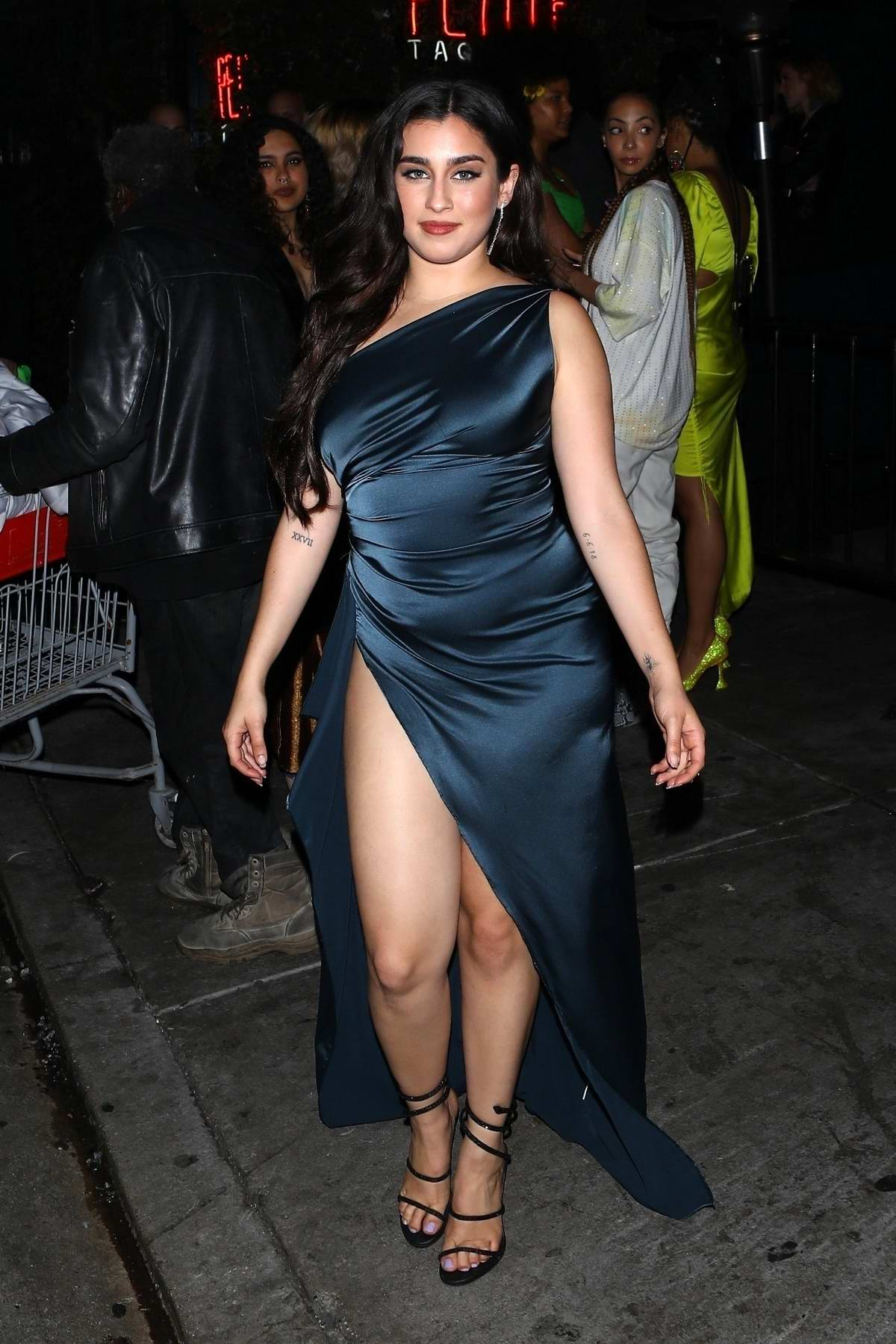 Lauren Jauregui looks stunning in a blue slit dress as she leaves Billie Eilish's Grammys After-Party in Los Angeles