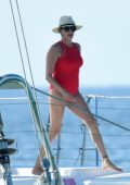 Lauren Silverman seen wearing a red swimsuit while enjoying a day on a catamaran in Barbados
