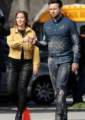 Leighton Meester and Taran Killam spotted on the set of their hit show 'Single Parents' in Los Angeles