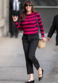 Liv Tyler seen wearing a pink and black striped sweater as she arrives at 'Jimmy Kimmel Live' in Hollywood, California