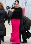 Lucy Hale looks stylish in a pink skirt while filming scenes for 'Katy Keene' in Brooklyn, New York City