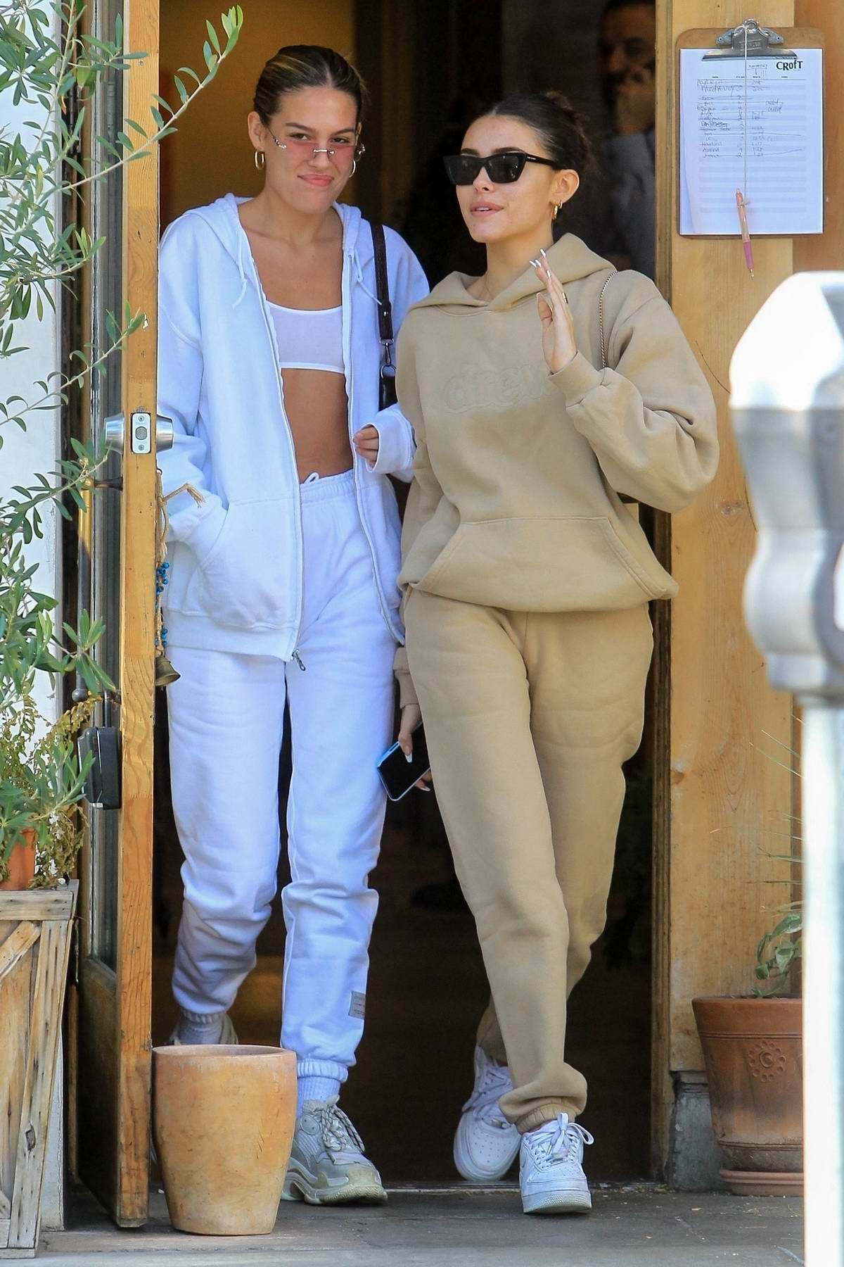 Madison Beer looks cozy in a beige sweatsuit as she walks to lunch at Croft Alley in Beverly Hills, California