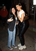 Madison Beer takes pictures with her fans as she leaves Craig's in West Hollywood, California