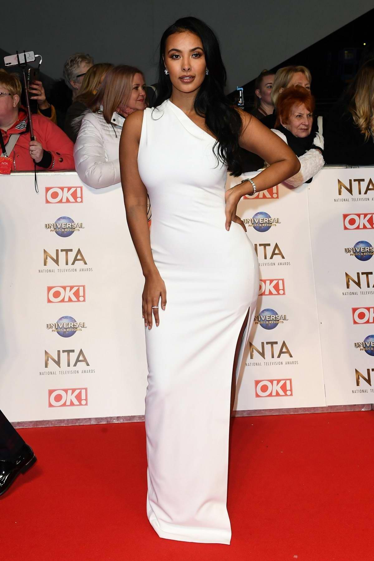Maya Jama attends the National Television Awards 2020 at The O2 Arena in London, UK
