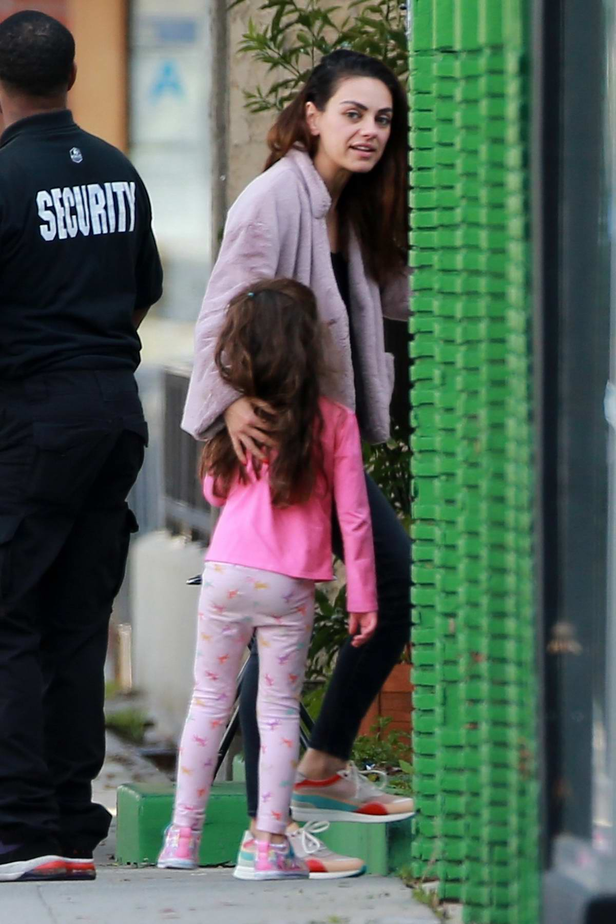 Mila Kunis seen out and about with her daughter in West Hollywood, California