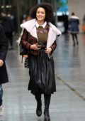 Nathalie Emmanuel smiles for the camera as she leaves the BBC Studios in London, UK