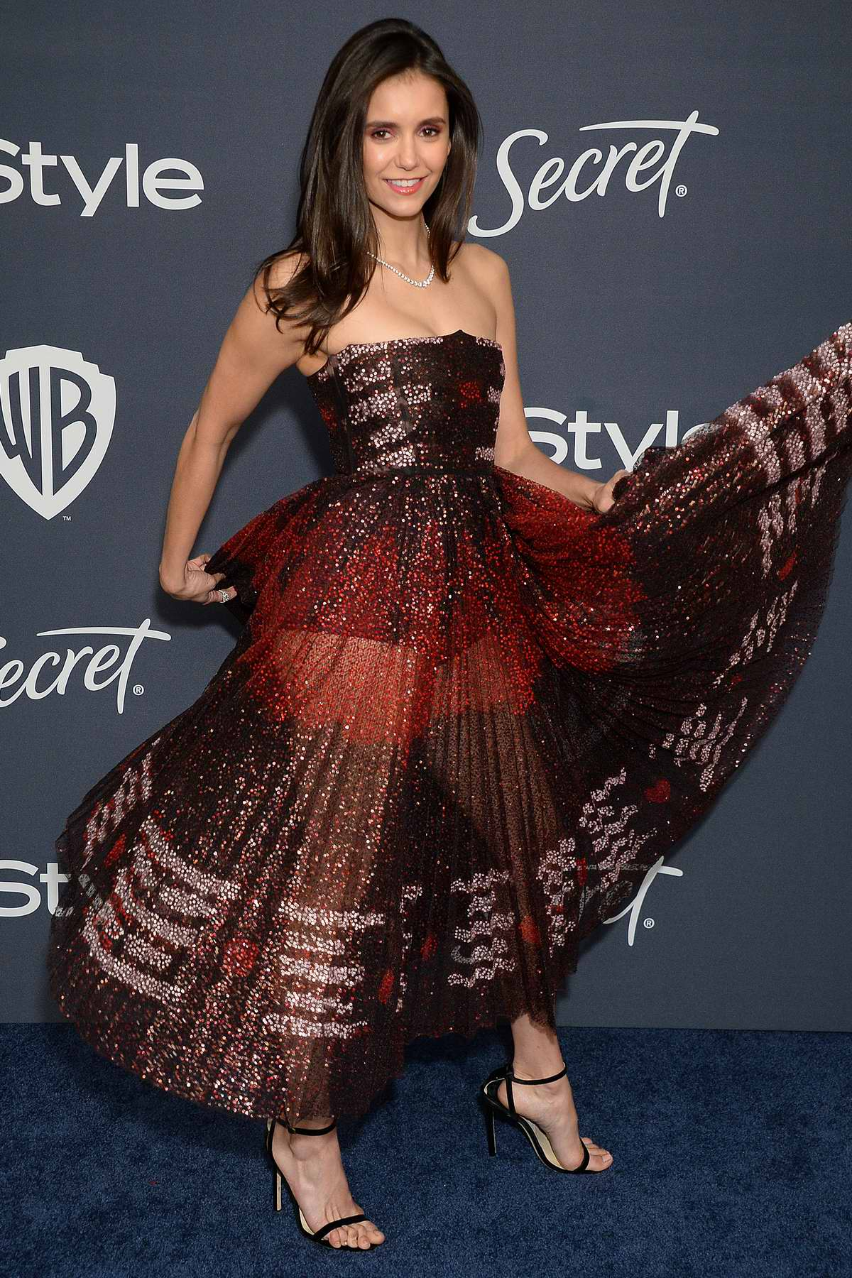 Nina Dobrev attends the 21st annual Warner Bros and InStyle Golden Globe After-Party in Beverly Hills, California