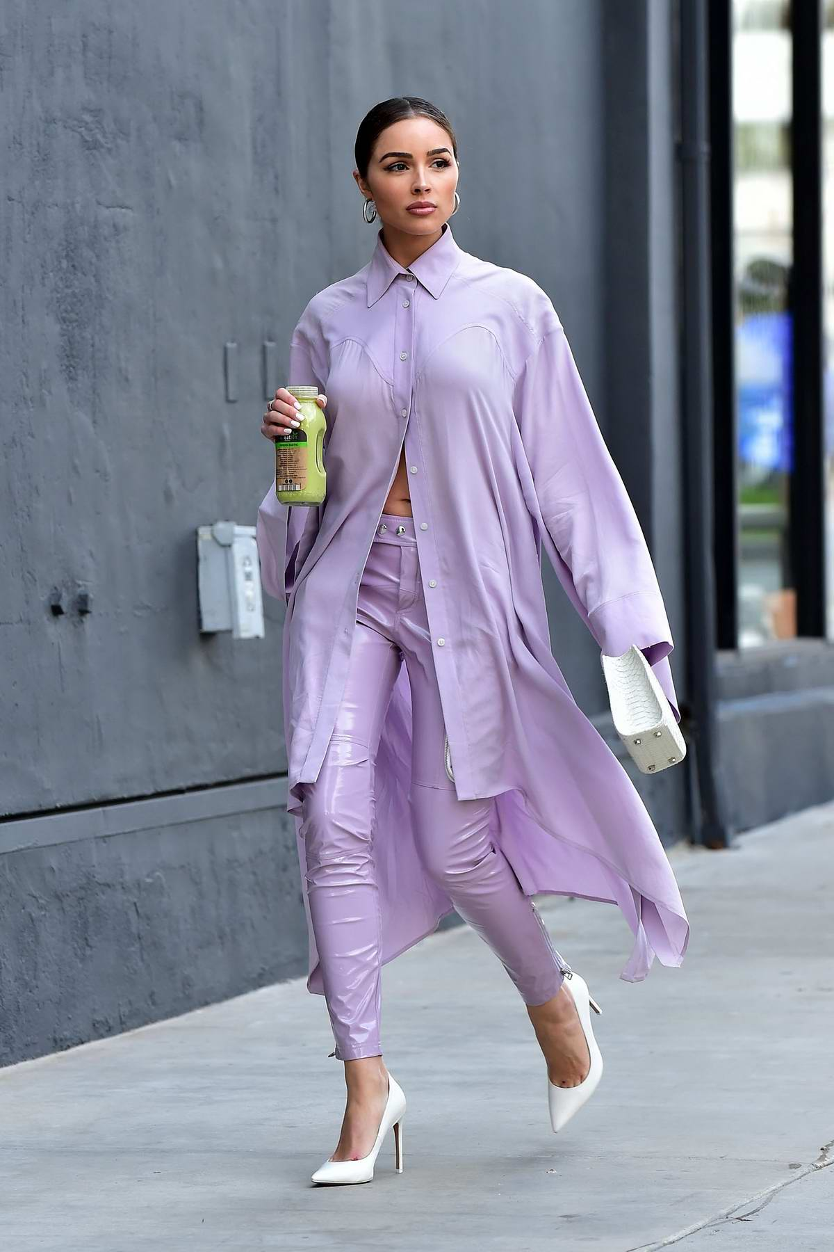 Olivia Culpo stuns in a purple while out for meeting in Santa Monica, California