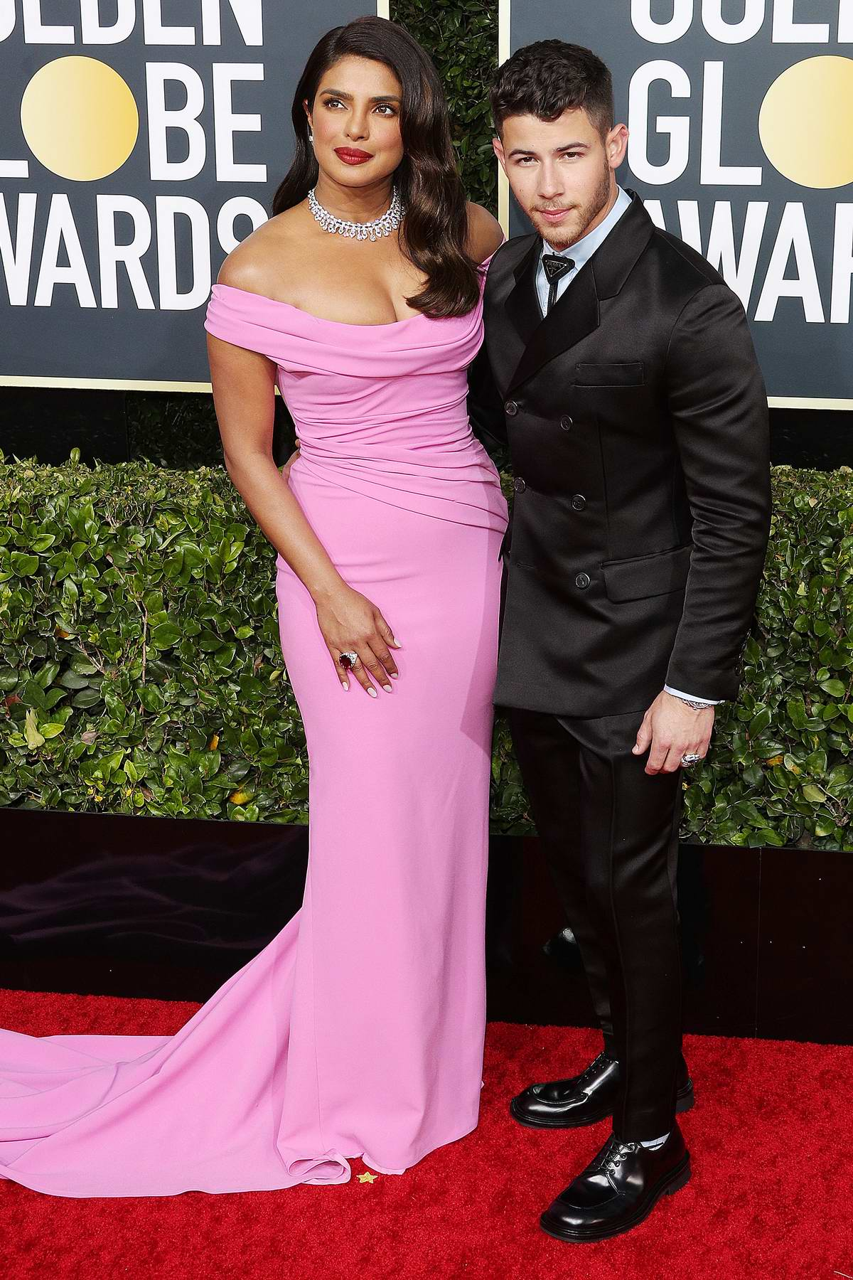 Priyanka Chopra and Nick Jonas attend the 77th Annual Golden Globe Awards at The Beverly Hilton Hotel in Beverly Hills, California