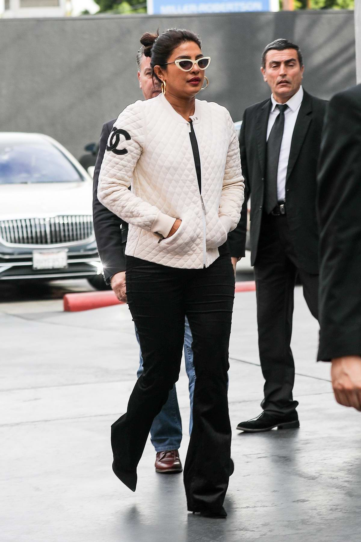 Priyanka Chopra seen wearing white Chanel jacket while out for some shopping at Maxfields in Beverly Hills, California