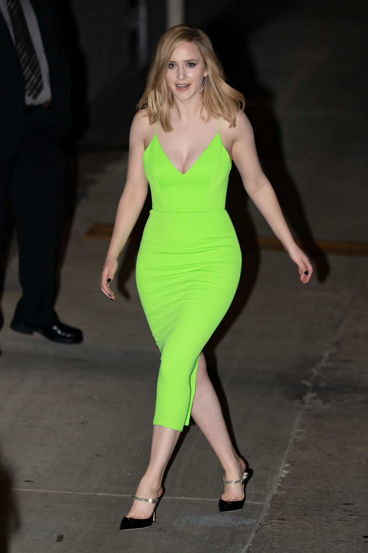 Rachel Brosnahan stuns in a neon green dress as she leaves 'Jimmy Kimmel Live' in Hollywood, California