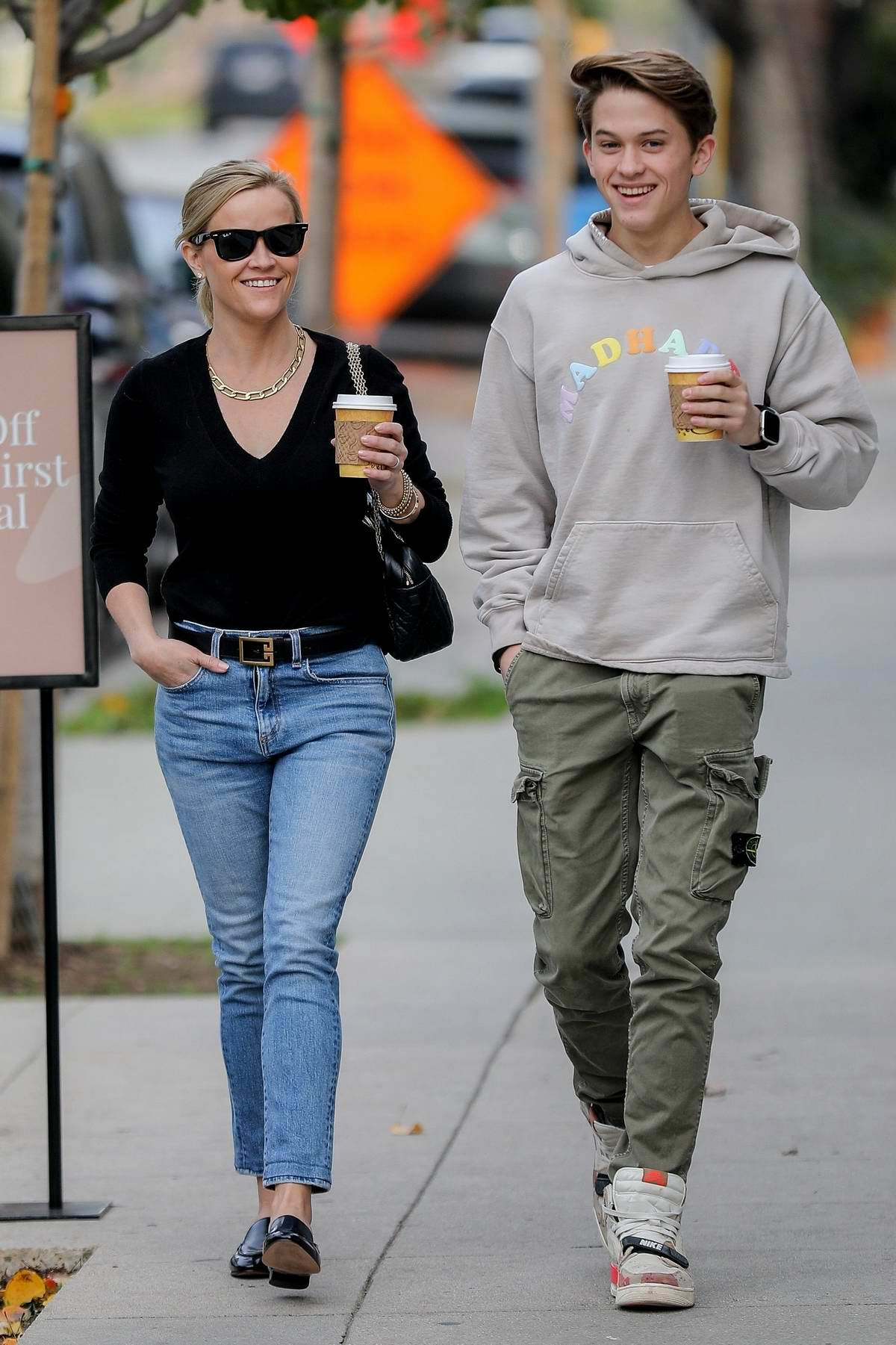 Reese Witherspoon has lunch with her son Deacon Phillippe at Le Pain Quotiden in Brentwood, California