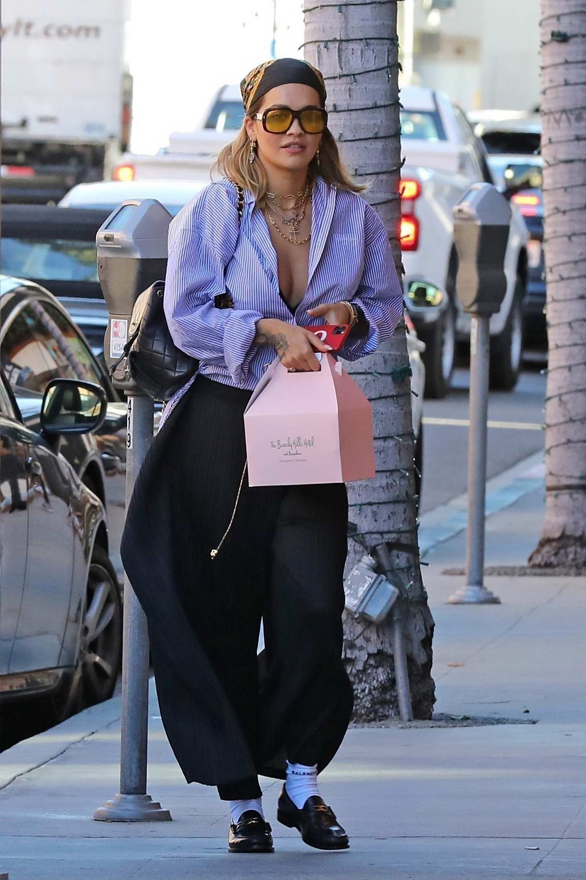 Rita Ora looks trendy as she steps out for jewelry shopping in Beverly Hills, California