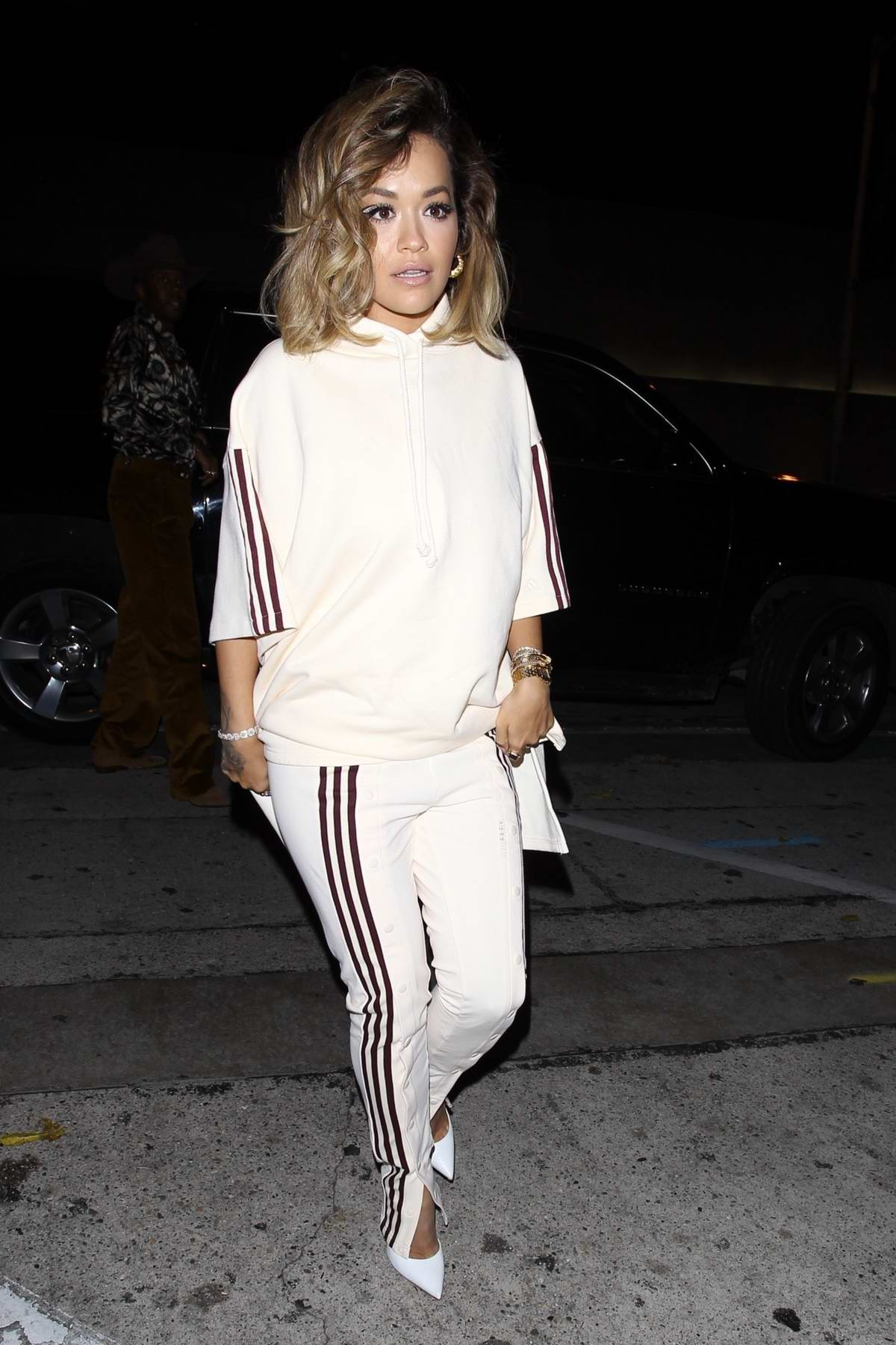 Rita Ora opts for all-white during a night out at Craig's in West Hollywood, California
