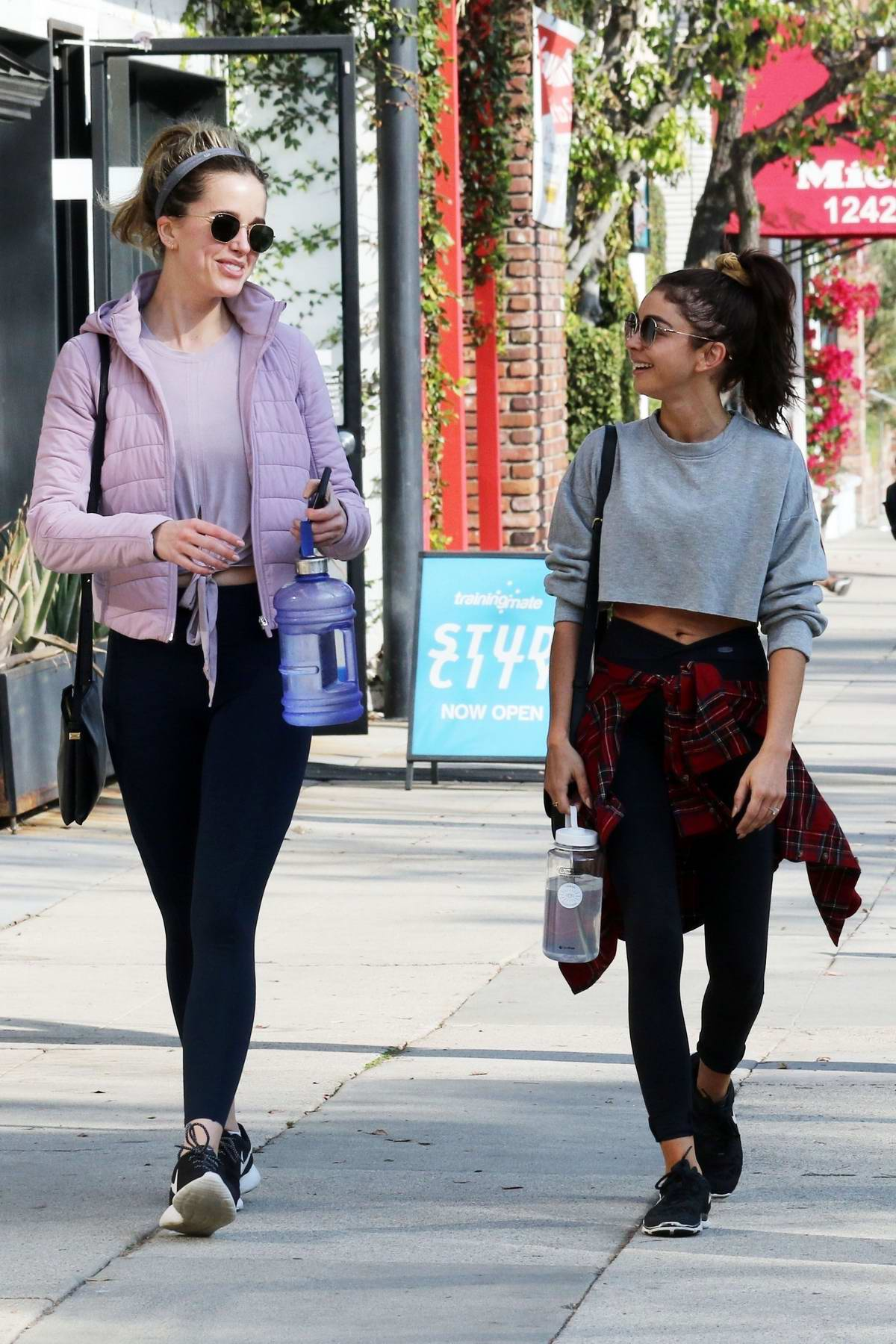 Sarah Hyland and Ashley Newbrough seen leaving the gym after a workout session in Studio City, California