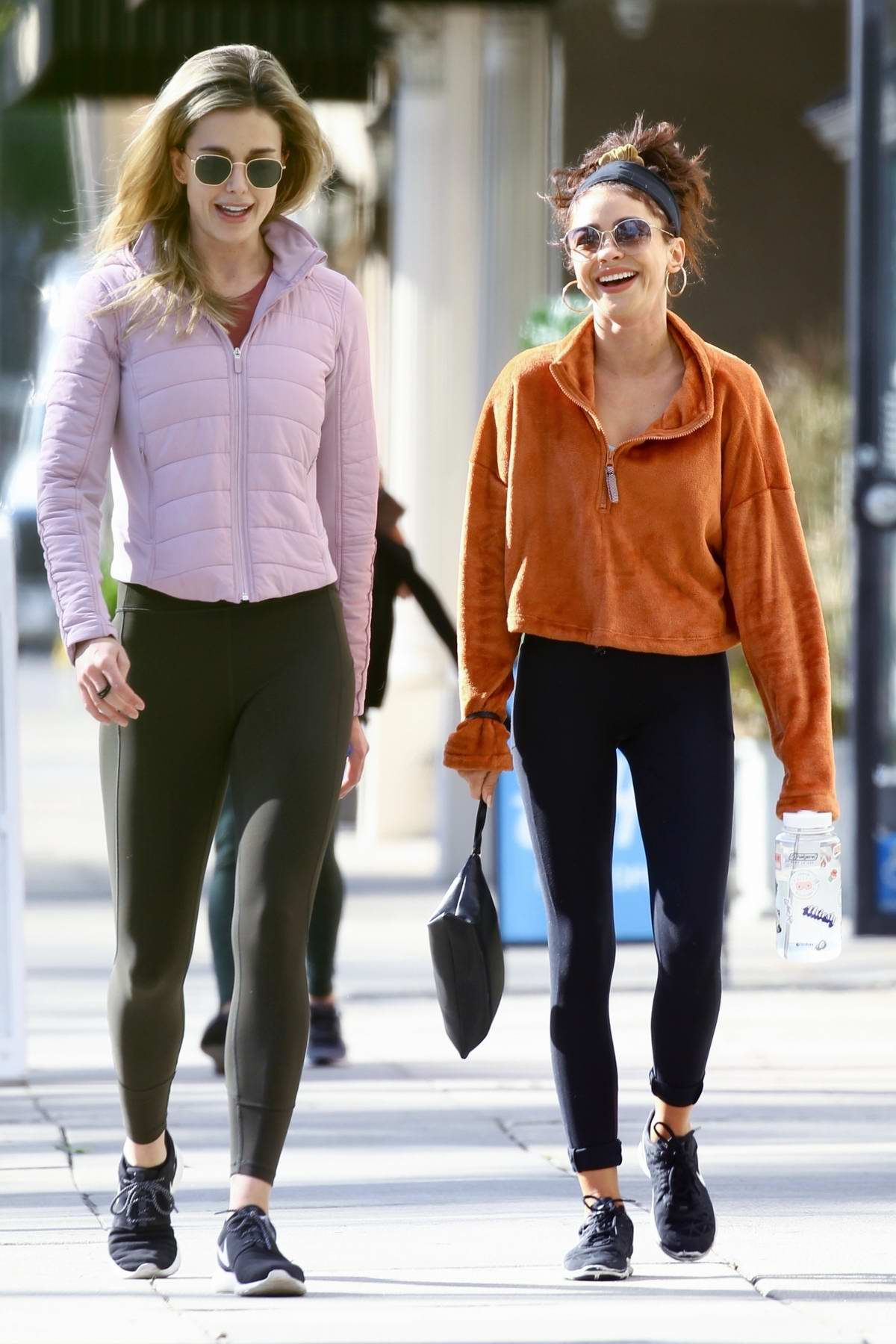 Sarah Hyland is all laughs and giggles as she steps out for lunch with a friend in Studio City, California