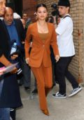 Selena Gomez looks amazing in a burnt orange suit while visiting 'Live With Kelly and Ryan' in New York City