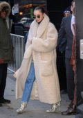 Sofia Carson looks stylish in a faux fur long coat as she leaves 'Good Morning America' in New York City