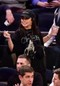 Vanessa Hudgens attends the Los Angeles Lakers vs New York Knicks game at Madison Square Garden in New York City