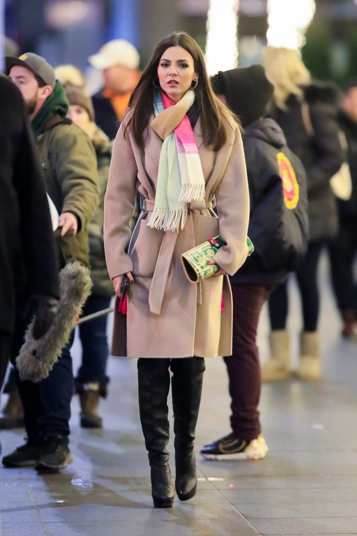 Victoria Justice and Matthew Daddario seen filming 'Push' in Midtown in New York City