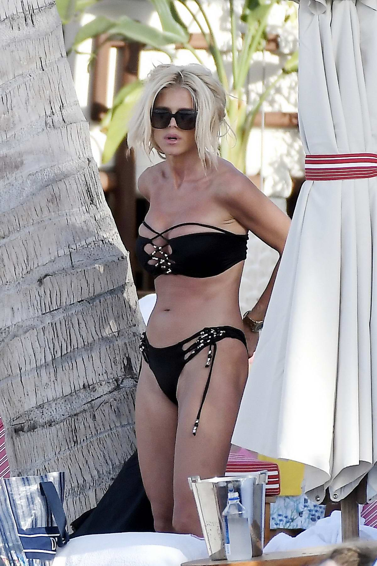 Victoria Silvstedt seen wearing a black bikini as she enjoys a beach day in St Barts, France