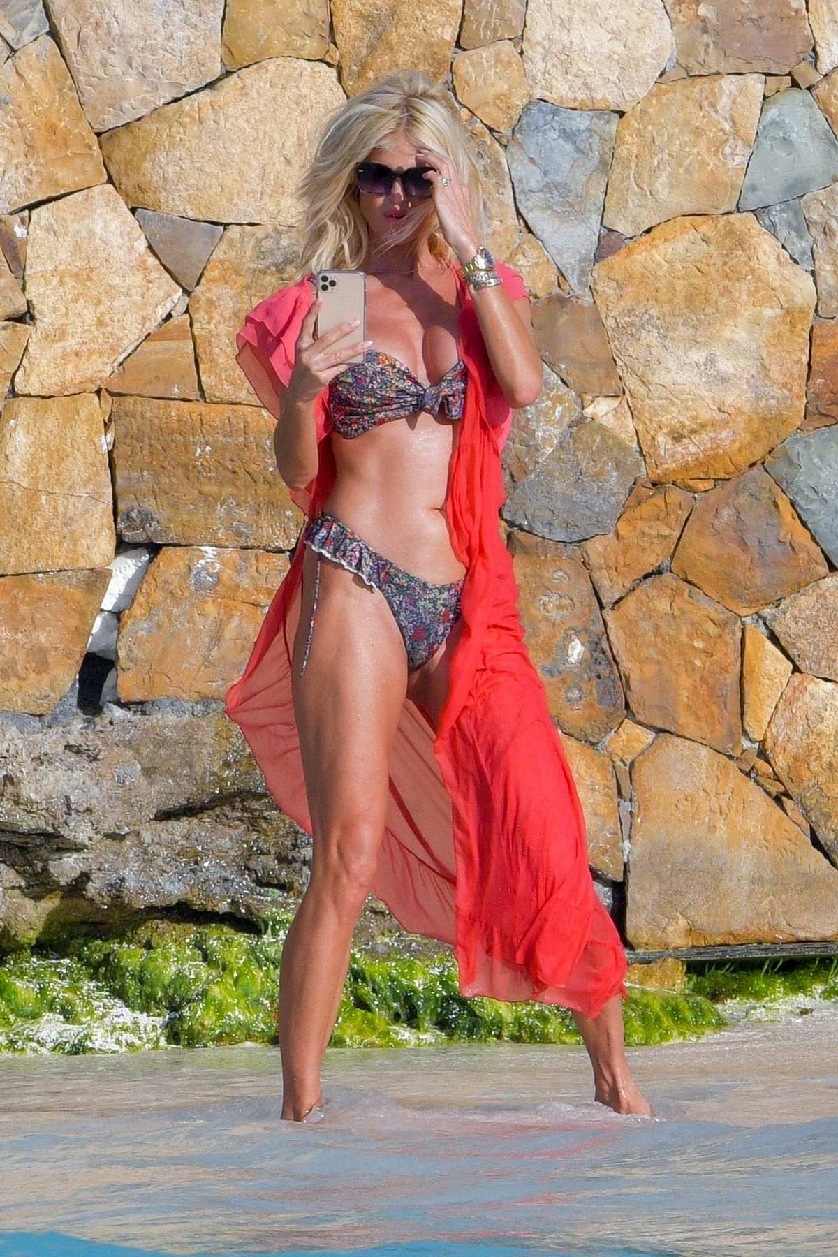 Victoria Slivested flaunts her bronzed figure in a bikini at the beach in St Barts, France