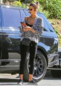 Alessandra Ambrosio dons an animal print top while stopping by her friend's Beauty Institute in West Hollywood, California
